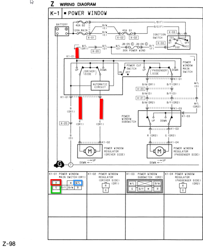 wiring diagram, page z-98