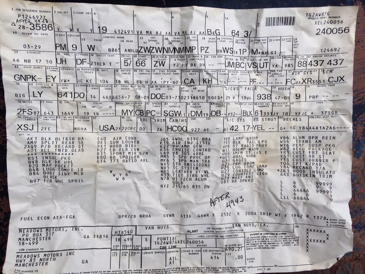 1984 Pontiac Trans Am Y84 Rpo Sheet Found Taped Behind Interior Panel