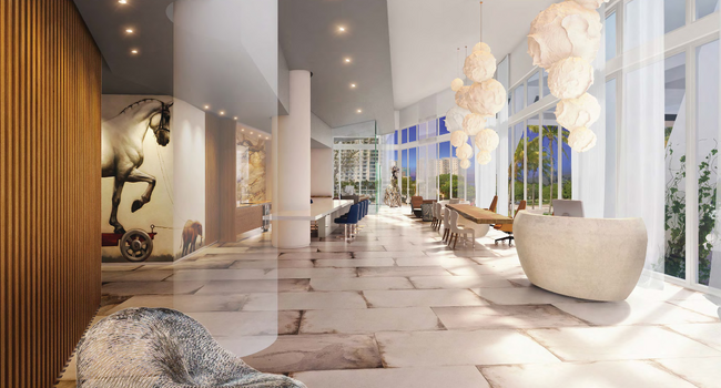 Spacious lobby with plenty of work-from-home or hangout lounge space