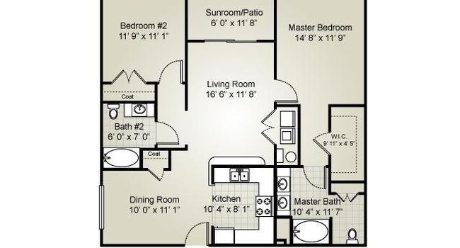 2 Bedroom / 2 Bath / 1101 Sq.Ft.